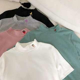 🚚 [PO] fruits embroidered mock neck tee
