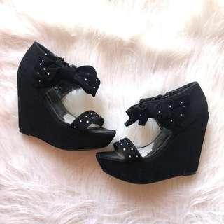 Black chunky wedge Barbie style heels