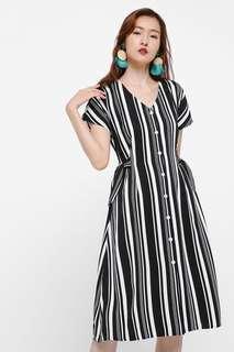 Melvina Ribbon Tie Midi Dress Size M