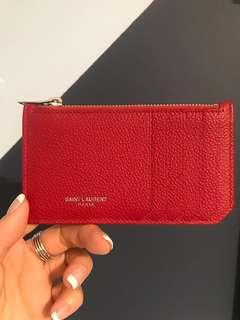 *NEW* authentic SAINT LAURENT - FRAGMENTS ZIP POUCH IN RED GRAINED LEATHER