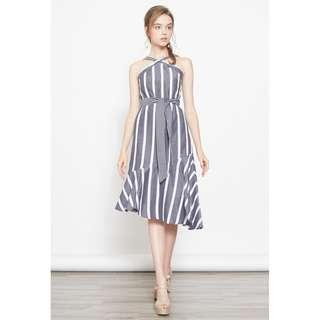 *INTQ LABEL* AMBROSIA STRIPES SLANTED HEM DRESS IN GREY