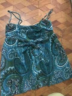 Blue green Spag strap top