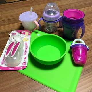 Feeding Set with bottles plates cutlery for baby toddler