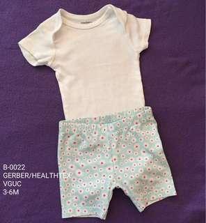 Baby Girl Onesie + Shorts 3-6M