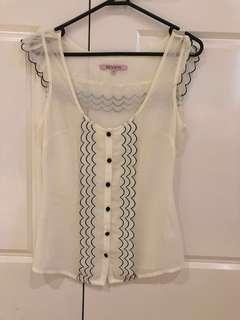 REVIEW - sheer contrast trimmed top
