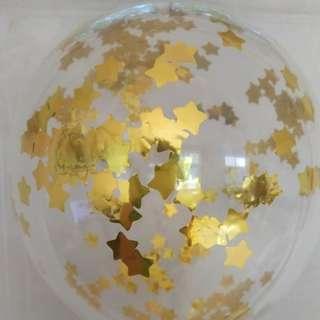 星星閃片透明氣球