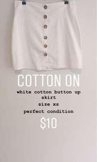 cotton button up skirt