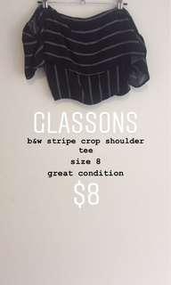 b&w shoulder crop tee