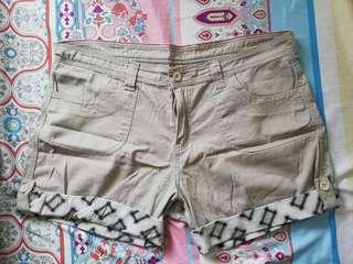 Plus Size Beige Shorts