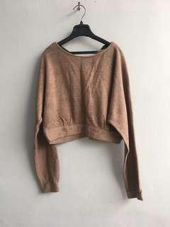 Brown Cardigan crop