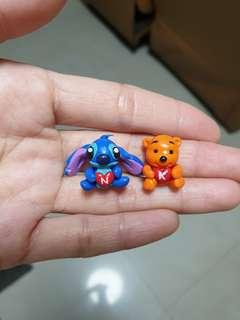 Customise miniature stitch & pooh made of polymer clay