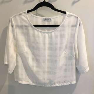 White Sheer Cropped Shirt