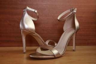 Mango 高雅香檳金 氣質一字高跟涼鞋 成熟 經典 時尚性感