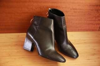 Mango 短靴 簡約時尚 俐落雅皮 粗跟靴