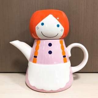 小姑娘茶壺連杯 陶瓷