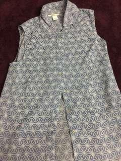 H&M Blue Patterned Sleeveless Blouse