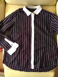 Lowrys Farm navy and red stripped shirt