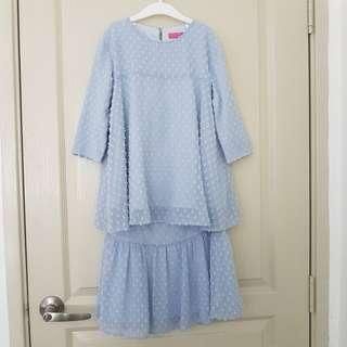 Poplook Kids Shena Blouse and Skirt Set - Blue Fog   Modern Kurung   Size 8   Mother Daughter Collection  