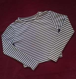 Stripes Long Sleeves crop top