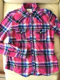 Hollister pink colourful checked shirt