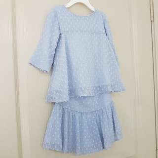 Poplook Kids Shena Blouse and Skirt Set - Blue Fog   Modern Kurung   Size 2   Mother Daughter Collection  