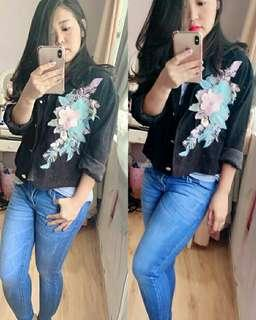 JAKET FLORA IMPORT (REAL PICTURE) - BLACK