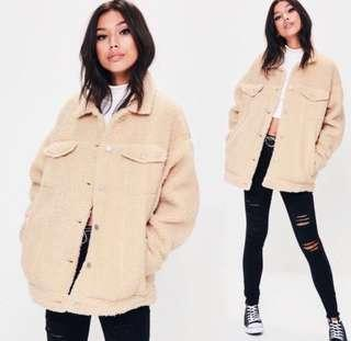 Missguided Teddy Beat Coat Jacket Creme/Beige