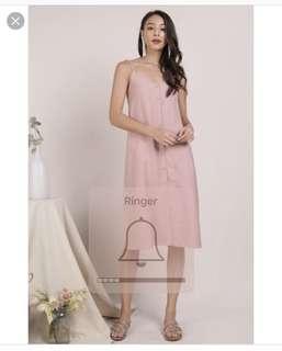 Tris Button Down Midi Dress (Pink)