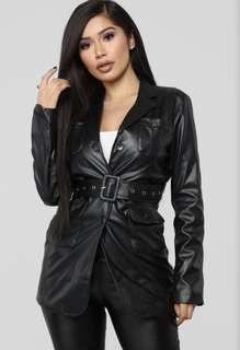 Fashionnova Belted Faux Leather Jacket