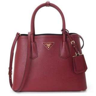 e35ef354bd55 Prada Saffiano Cuir Double Bag 30cm