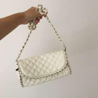 White Quilted Crossbody Bag