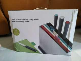 Stylic 4 colour-coded chopping boards with co-ordinating knives