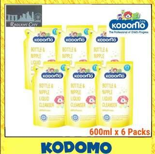 🚚 PROMOTION 【Kodomo】Bottle and Nipple Liquid Cleanser 600 ML x 6 Packs ● REFILL● Safe for babies●INCLUDING FREE DELIVERY