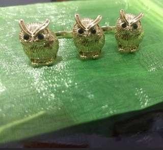 "YOKO PEARL inspired cute owls black ""swarovski"" double ring open size 開口貓頭鷹雙戒指 (可送 PARKN' Shop 百佳 Vivo/ crcare 華潤堂 入廚樂 rasonic / U select / 惠康 pyrex / 千色店 citistore kitchenaid印花)"