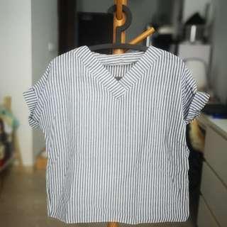 Blue white Vertical Stripe Top