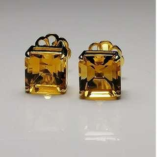 (916 Gold) Authentic Quality Workmanship on Cusotm made 9mm Citrine Square Cut Ear Rings. Stamped.