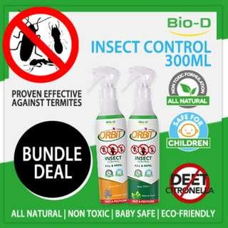 [Bundle of 2 x 300ml - Natural/Lavender] Bio-D Orbit Insect Control Spray (Cockroach Termites Ants)