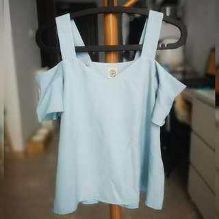 Mint Blue Cold Shoulder Top