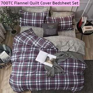 Flannel Soft Superior Fitted Bedsheet Quilt Cover Set