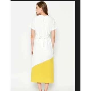 BACKORDER EUKENE COLOURBLOCK DRESS W SASH WHITE