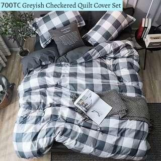 Greyish Checkered Soft Fitted Bedsheet Quilt Cover Set