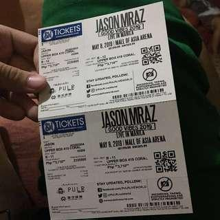 Jason Mraz Concert Tickets (upper box)