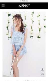 Lovet Crochet Lace Co-ord Set in Sky Blue