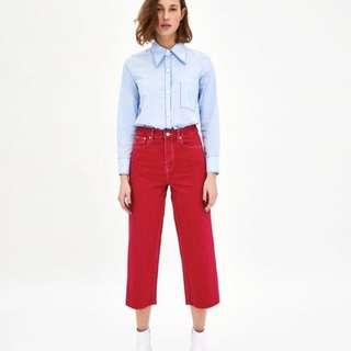 High Waist Denim Culottes in Red