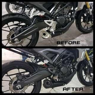 CB150R Engine / Footrest / Pipe cover Spraying