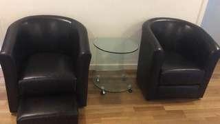 Leather seater sofa (2X) and glass table