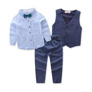 Baru Bayi Laki-laki Musim Semi Pria Pakaian Bergambar Set Setelan Bayi Baru Lahir Kaus Motif Dinosaurus + celana Tali Ikat Set Pesta