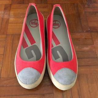 Fitflop 橙色帆布健康平底鞋