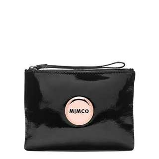 Medium Pouch, Rose Gold, Black Patent Leather