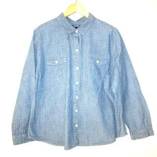 (XL-2XL) Old Navy lught denim polka longsleeves. In almost looks new conditions